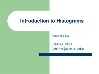 Introduction to Histograms