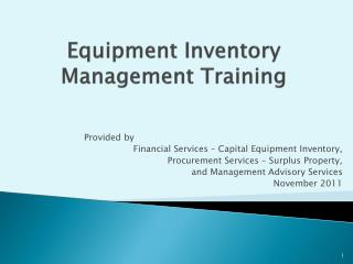 Equipment Inventory Management Training
