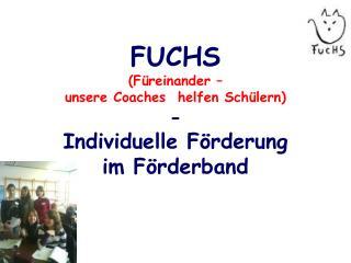 FUCHS (Füreinander –  unsere  Coaches   helfen Schülern) -  Individuelle Förderung  im Förderband