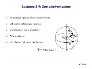 Lectures 3-4: One-electron atoms