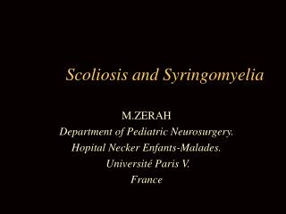 Scoliosis and Syringomyelia