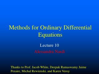 Methods for Ordinary Differential Equations