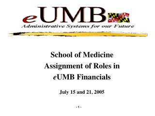 School of Medicine Assignment of Roles in e UMB Financials July 15 and 21, 2005