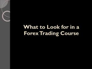 What to Look for in a Forex Trading Course