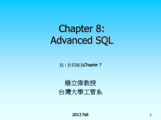 Chapter 8: Advanced SQL