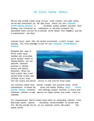 corporate events sydney harbour