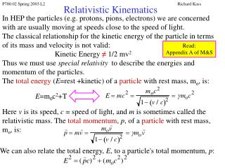 Relativistic Kinematics
