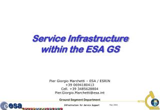 Service Infrastructure within the ESA GS