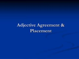 Adjective Agreement & Placement