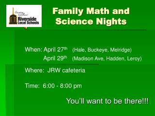 Family Math and Science Nights