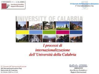 I processi di  internazionalizzazione    dell�Universit� della Calabria