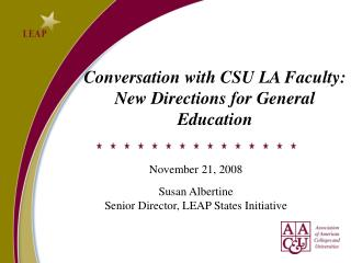 Conversation with CSU LA Faculty: New Directions for General Education