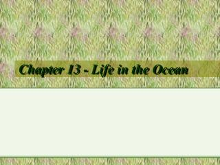Chapter 13 - Life in the Ocean