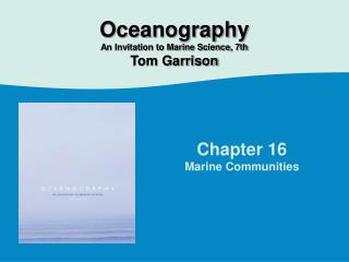 Chapter 16 Marine Communities