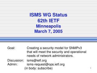 ISMS WG Status 62th IETF Minneapolis March 7, 2005
