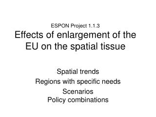 ESPON Project 1.1.3 Effects of enlargement of the EU on the spatial tissue