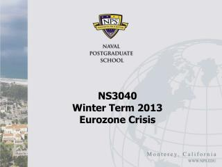 NS3040  Winter Term 2013 Eurozone Crisis