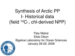 Synthesis of Arctic PP I- Historical data  (field  14 C-, chl-derived NPP)