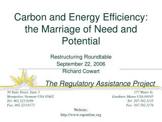 Carbon and Energy Efficiency: the Marriage of Need and Potential