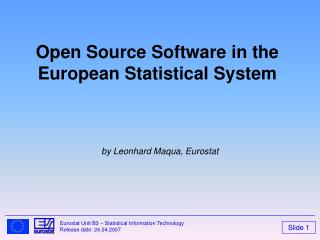 Open Source Software in the European Statistical System