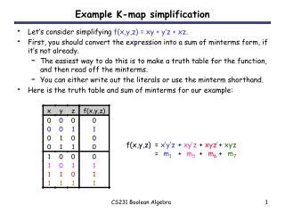 CS231 Boolean Algebra