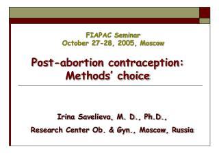 FIAPAC Seminar October 27-28, 2005, Moscow