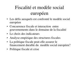 Fiscalité et modèle social européen