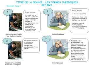 TITRE DE LA SEANCE : LES FORMES JURIDIQUES BEP MVA
