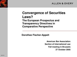 Dorothee Fischer-Appelt American Bar Association Section of International Law