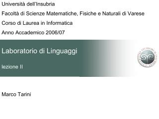 Laboratorio di Linguaggi lezione II