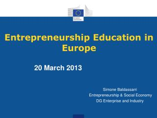 Entrepreneurship Education in Europe