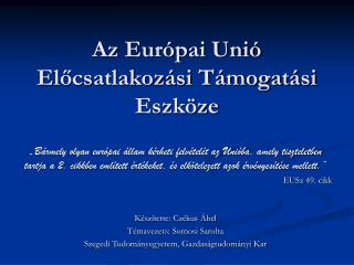 Az Európai Unió Előcsatlakozási Támogatási Eszköze