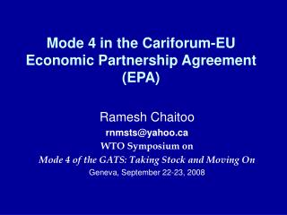 Mode 4 in the Cariforum-EU  Economic Partnership Agreement (EPA)