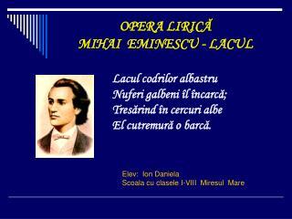 OPERA LIRICĂ MIHAI  EMINESCU - LACUL
