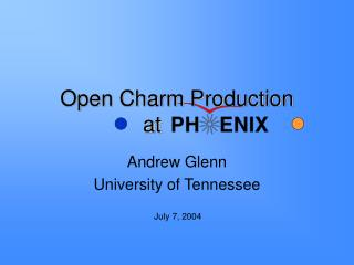 Open Charm Production at                                             .
