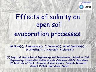 Effects of salinity on open soil evaporation processes