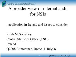 A broader view of internal audit for NSIs