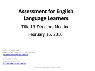 Assessment for English Language Learners