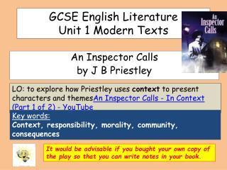 GCSE English Literature  Unit 1 Modern Texts