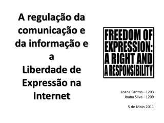 A regulação da comunicação e da informação e a  Liberdade de Expressão na Internet