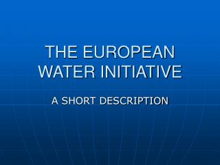 THE EUROPEAN WATER INITIATIVE