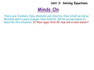 Unit 3: Solving Equations