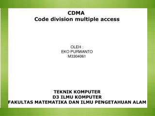CDMA  Code division multiple access