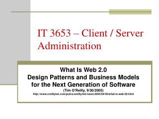 IT 3653 – Client / Server Administration