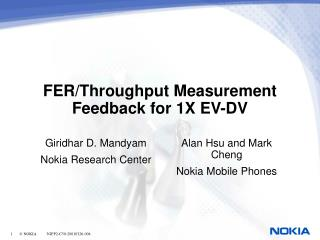 FER/Throughput Measurement Feedback for 1X EV-DV