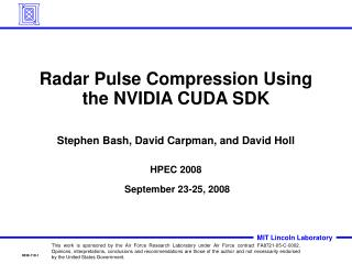 Radar Pulse Compression Using the NVIDIA CUDA SDK