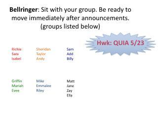 Hwk : QUIA 5/23