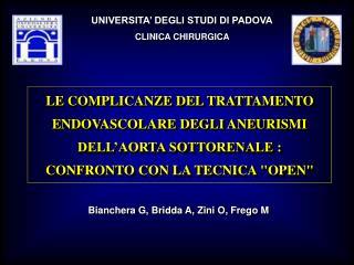 UNIVERSITA' DEGLI STUDI DI PADOVA CLINICA CHIRURGICA