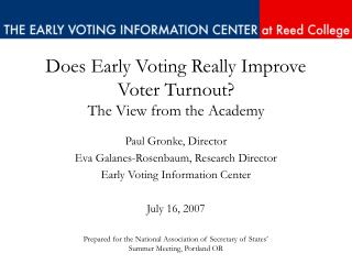 Does Early Voting Really Improve Voter Turnout? The View from the Academy