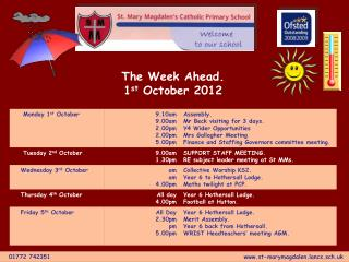 The Week Ahead. 1 st  October 2012